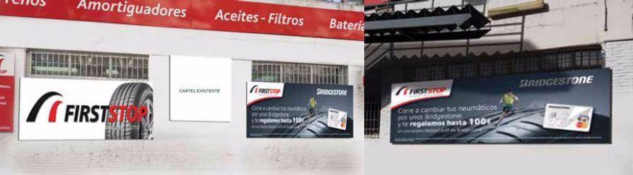 Decoración de fachada para Bridgestone